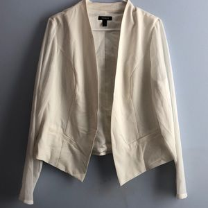 White blazer with chiffon sleeves